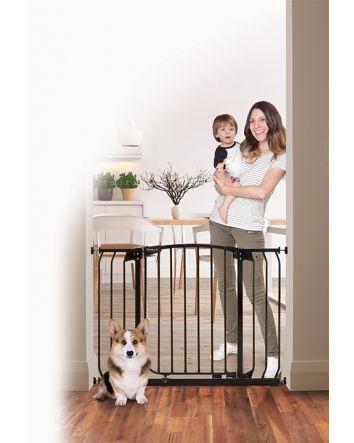 ZOE EXTRA-WIDE HALLWAY AUTO-CLOSE PET SECURITY GATE - BLACK